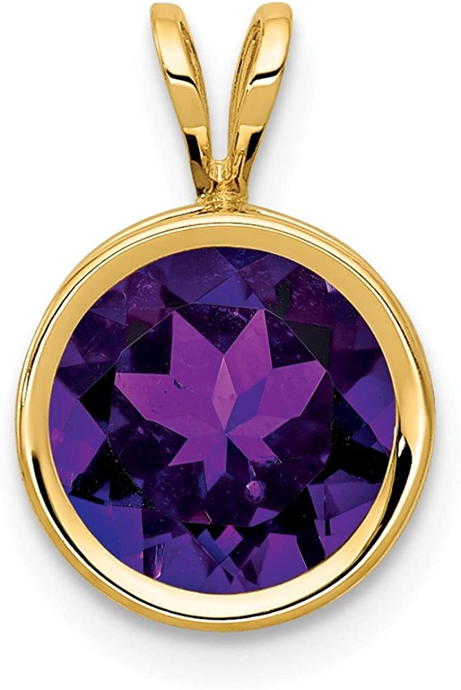 14k Yellow Gold 8mm Purple Amethyst Bezel Pendant Charm Necklace Gemstone Fine Jewelry For Women Gifts For Her