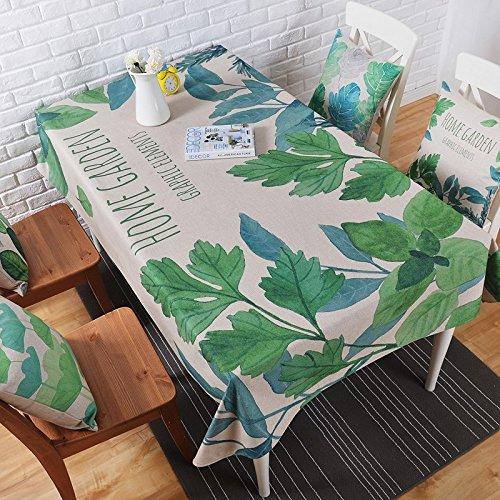110*170 cm Feuille verte nordique scandinave rustique Country INS Nappe en coton et lin à manger Bureau Jardin Rectangulaire carré Non-ironing respectueux de l'environnement chemin de table