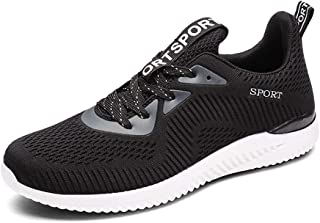 Men's Shoes 2019 Autumn New Mesh Breathable Lightweight Running Shoes Large Size Flying Woven Casual Shoes Men (Color : Black, Size : 38)