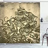 """Ambesonne Nautical Shower Curtain, Kraken Octopus Tentacles with Ship Sail Boat in Ocean Waves, Cloth Fabric Bathroom Decor Set with Hooks, 75"""" Long, Yellow Olive"""