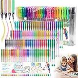 100 Colours Glitter Gel Pen Set Neon Glitter Colouring Pens Art Marker