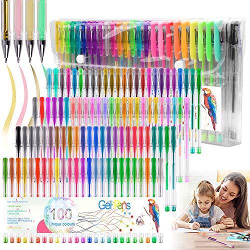 Juego de 100 bolígrafos de gel con purpurina para colorear, para libros de colorear para adultos