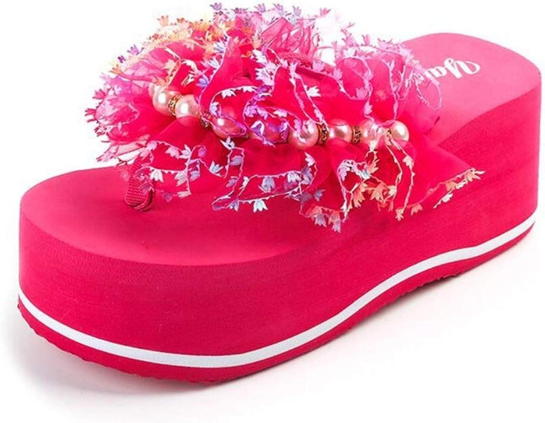 Women's Summer Fashion Beaded Flip Flops Non-Slip Beach Travel Sandals