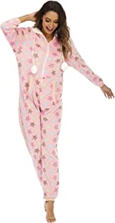 AZHLUF Ropa de Dormir de Mono para Mujer, Pijama de una Pieza para Mujer, camisón de Lana con Capucha, Pijama para Adultos, Felpa cálida y acogedora, para el hogar, Halloween, Fiesta de Navidad
