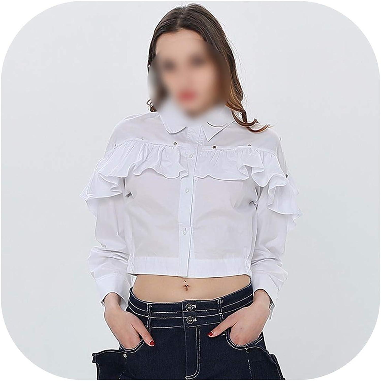 Leifun White Shirt Denim Shorts Two Piece Set Ruffle Long Sleeve Women's Blouse Crop Tops Female Jeans Suits