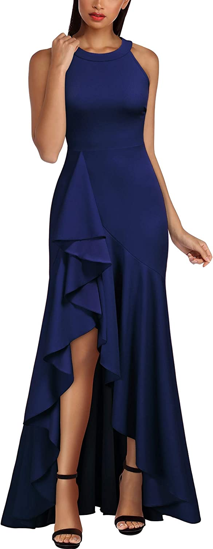 Miusol Women's Retro High Neck Split Over item handling Formal Evening Maxi Fashion D Party