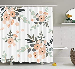 LILYMUA Girly Shower Curtain,Floral Shower Curtain, Bathroom Curtain Blush Pink Floral Bouquets on White Rose Flowers Shower Curtain Polyester Exotic Bath Curtain Waterproof Bathroom Decor 72X72 Inch