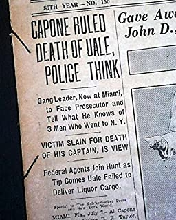 AL 'SCARFACE' CAPONE Frankie Yale Uale Murder Chicago Gangsters 1928 Newspaper THE KNICKERBOCKER PRESS, Albany, New York, July 8, 1928
