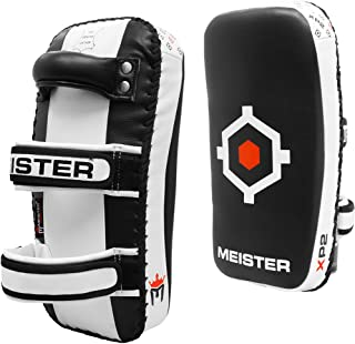 Meister XP2 Professional Curved Thai Pads for Kickboxing & MMA - X-Thick Cowhide Leather