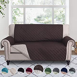 RHF Reversible Loveseat Covers for Dogs, Couch Covers for Dogs, Loveseat Cover for Dogs,Pet Cover for Loveseat, Loveseat Slipcover&Love Seat Couch Covers,Machine Washable(Loveseat:Chocolate/Beige)