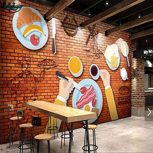 Sucsaistat Gro&Szlig;E Eigene Tapete 3D Ziegel Wand Western Restaurant Fast-Food-Restaurant FrÜHen Milch Tee Werkzeug Hintergrund Wand,350 * 256Cm