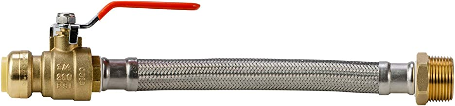 LittleWell AHPF12MNPT16 12 inch Braided Stainless Steel Hose Connector with Ball Valve, 3/4 inch Push-Fit x 1 inch Male NPT