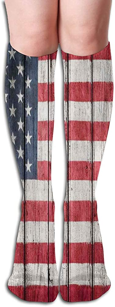 Men's and Women's Funny Casual Combed Cotton Socks,Fourth of July Independence Day Adorn National Democracy Art Rough Wood Looking