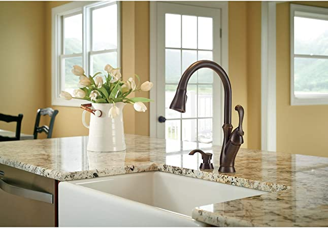 Delta Faucet Arabella Single Handle Kitchen Sink Faucet With Pull Down Sprayer Soap Dispenser And Magnetic Docking Spray Head Stainless 19950 Sssd Dst Touch On Kitchen Sink Faucets Amazon Com