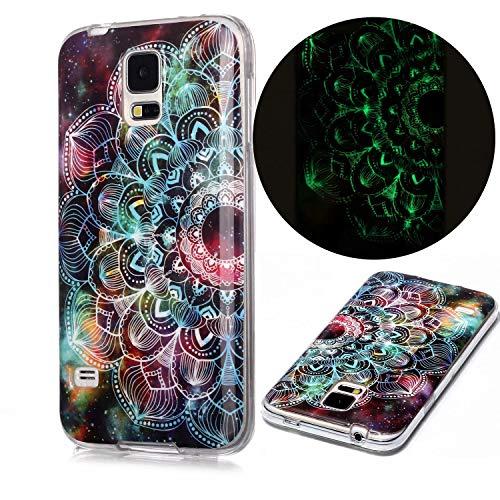 Miagon Leuchtend Luminous Hülle für Samsung Galaxy S5,Fluoreszierend Licht im Dunkeln Handyhülle Silikon Case Handytasche Stoßfest Schutzhülle,Mandala Blume