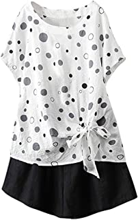 OULSEN Women's Blouse Polka Dot Printed Summer Short Sleeve Round Neck Bow-Knot Fashion Sweet Loose Cotton And Linen T-shirt Women Plus Size