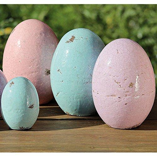 Osterei aus Keramik Terrakotta farblich lasiert 20 cm Höhe (hellrosa)