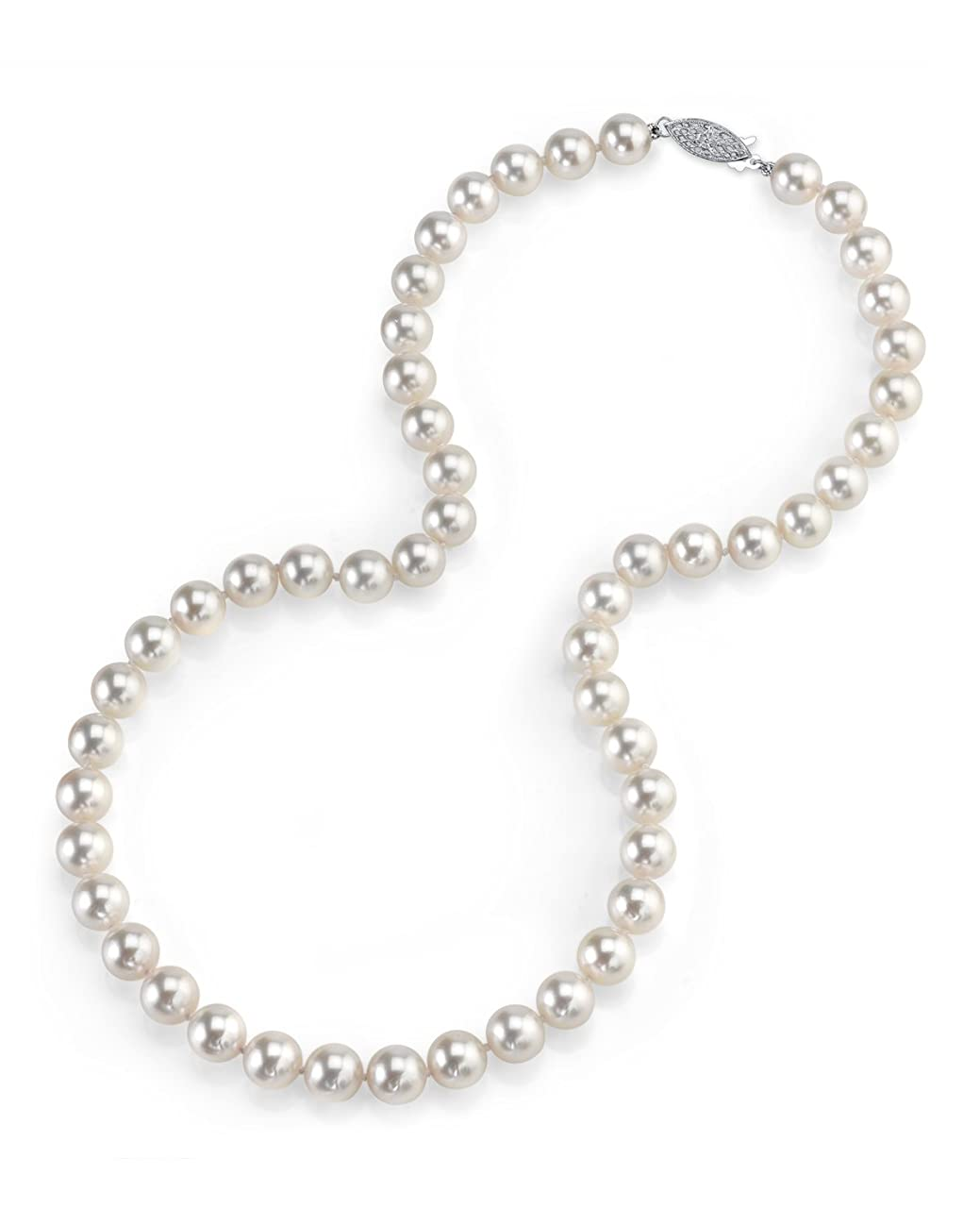 THE PEARL SOURCE 14K Gold AAA Quality Round Genuine White Japanese Akoya Saltwater Cultured Pearl Necklace in 18