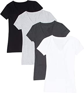 4 Pack Zenana Women's Basic V-Neck T-Shirts