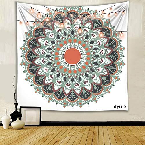 WERT Tapiz de teñido Anudado Mandala Indio Noche Luna Boho Tapiz Decorativo de Tela de Pared Tapiz de Pared psicodélico A5 180x200cm