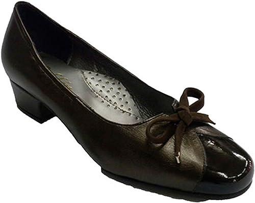 Roldan Type de Chaussures Ballerines en en Cuir en Cuir et Un Brevet combinée en Brun foncé  branché