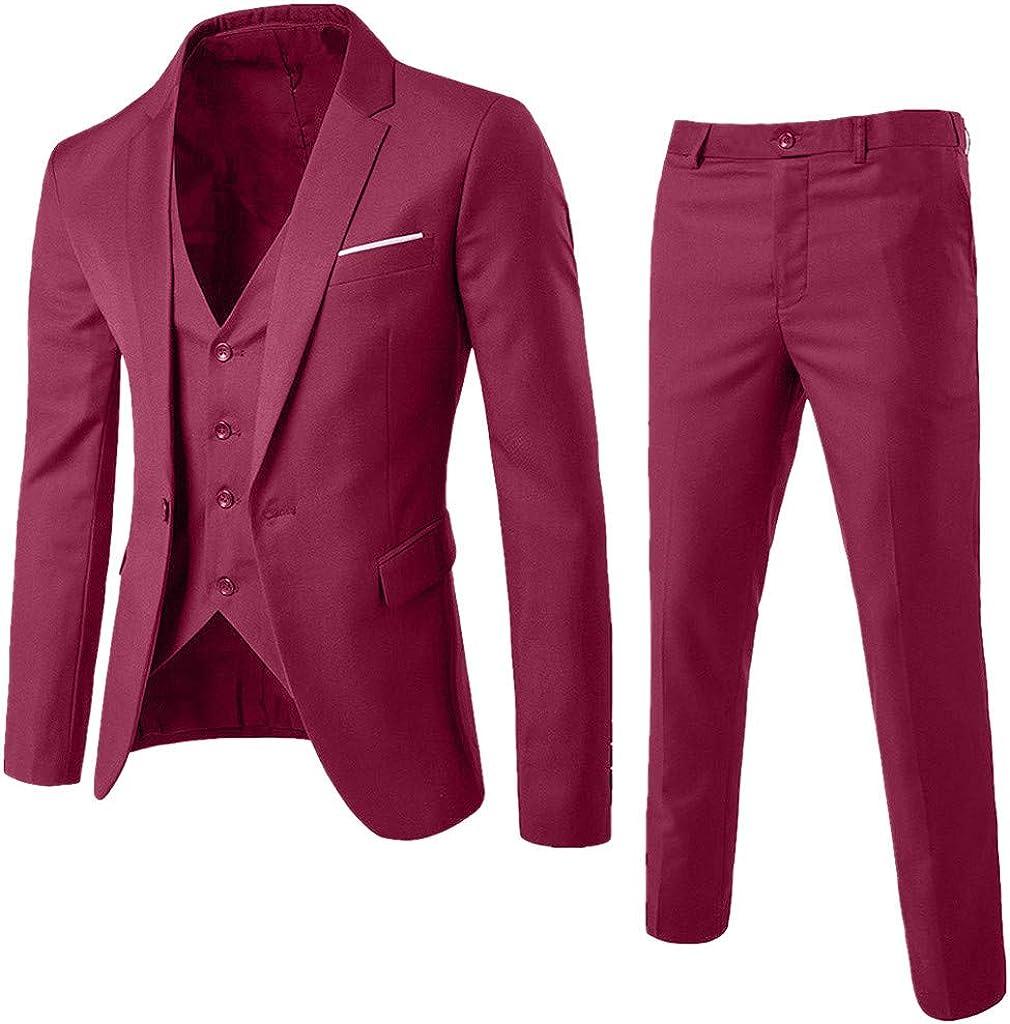 MODOQO Men's Suit Slim Fit Business Wedding Party 3-Piece Formal Suit Jacket Vest & Pants(Wine,CN-S/US-XS)