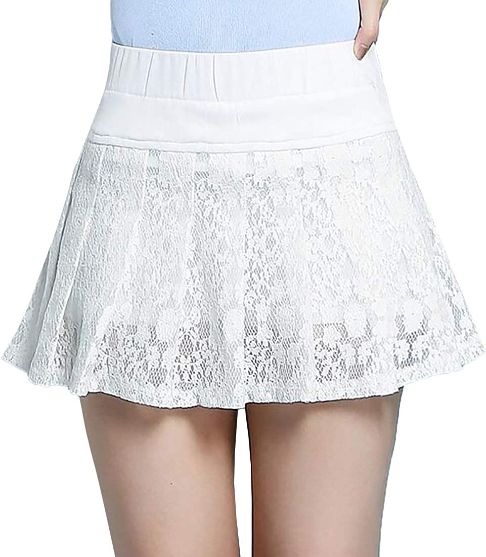 Inlefen Dance Mini Skirt Casual Outdoor Lace Solid Color Skirt for Womens
