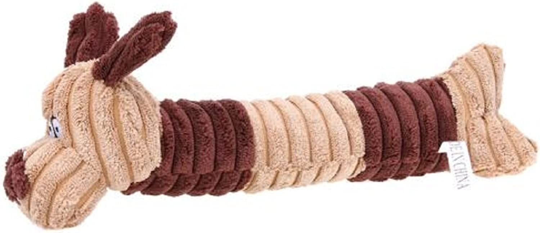 New Cute Long Dog Shape Squeaking Corduroy Chew Toy, Generic