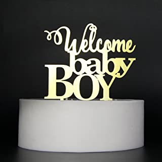 Lovely BITON Gold Welcome Baby Boy Cake Topper Shining Numbers Letters for Wedding Birthday Anniversary Party.