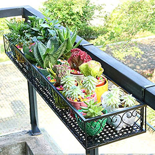 ZHANWEI Etagère à Fleurs Porte Pots pour Fleurs et Plantes Art de Fer Pendaison Clôture Multicouche Multifonction Style de Campagne Intérieur extérieur, Noir, 13 Tailles (Taille : 60x25x12cm)