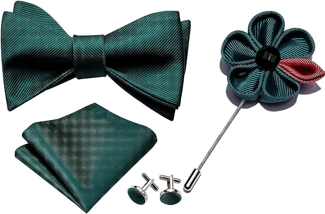 Purple Bowtie For Men Self-Tied Bows Silk Tie Set Pocket Square Cufflinks Boutonniere Gift