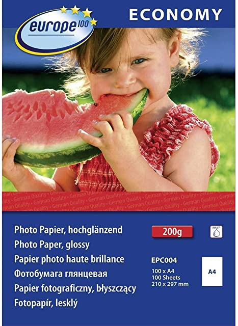europe100 EPC004 A4 Brillo Blanco - Papel fotográfico (Blanco Brillo 200 g/m² A4 100 hojas)