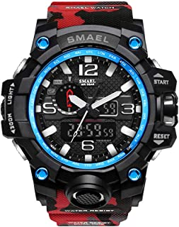 ALXDR Men's Digital Quartz Watch Dual Display LED Watch Waterproof Outdoor Sports Military Watch Multifunctional Large Dial Wrist Watch for Men,Red