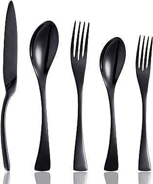 Culterman 20 Piece Black Flatware Silverware Cutlery Sets, unique modern look, Home & Kitchen Stainless Steel Dinnerware/