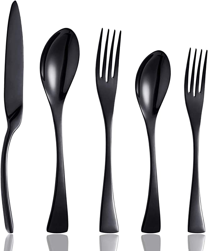 Culterman 20 Piece Flatware Silverware Cutlery Sets Unique Modern Look Home Kitchen Stainless Steel Dinnerware Tableware Utensils Sets For 4 Include Knives Forks Spoons Dishwasher Safe Black 4