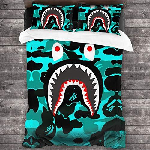 NA-1 Ba-pe Shark Face Big Mouth Teeth Duvet Cover Bedding Sheet Set, 3 Piece Set Comfortable Luxurious(Duvet Cover + 2 Pillowcases)