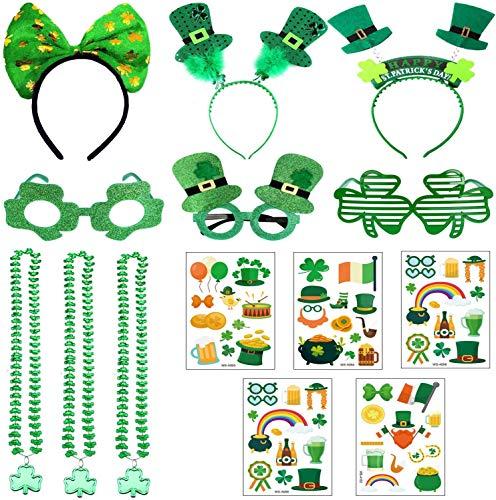 14 PCS St. Patricks Day Accessoires Shamrock Temporäre Tattoos, Stirnbänder, Brillen, Halsketten für Festivals, Paraden und irische Partyartikel-Dekorationen