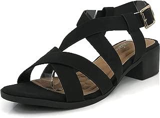 Womens Open Toe Ankle Wrap Strap Block Heel Sandals