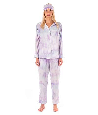 Plush Tie-Dye Pajama + Eyemask Set (Purple) Women