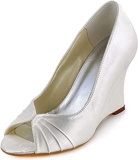 Women High Heel Pumps Peep Toe Satin Evening Prom Bridal Wedding Wedges