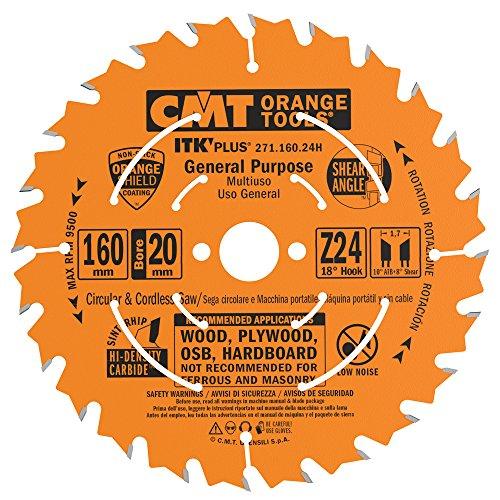CMT 271.160.24h Kreissägeblatt itk-plus für Schnitt Lang und Querflöte Vene, Orange