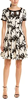 Women's Short Sleeve Abstract Print Fit and Flare Dress