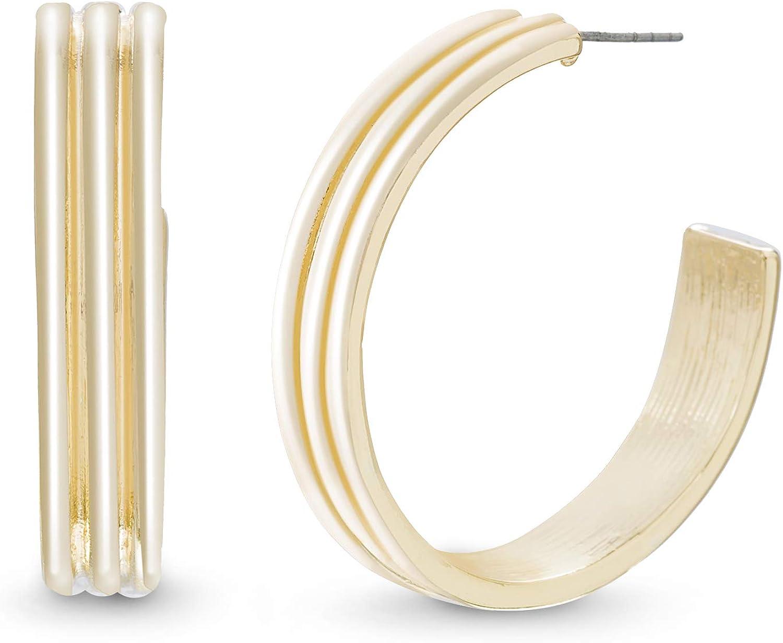 Steve Madden Triple Grooved Yellow Gold Plated C Hoop Earrings for Women