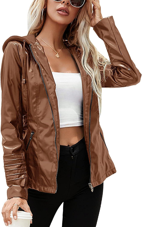 Atditama Faux Leather Jackets Women Hooded Drawstring Hood Casual Moto Biker PU Coat Plus Size