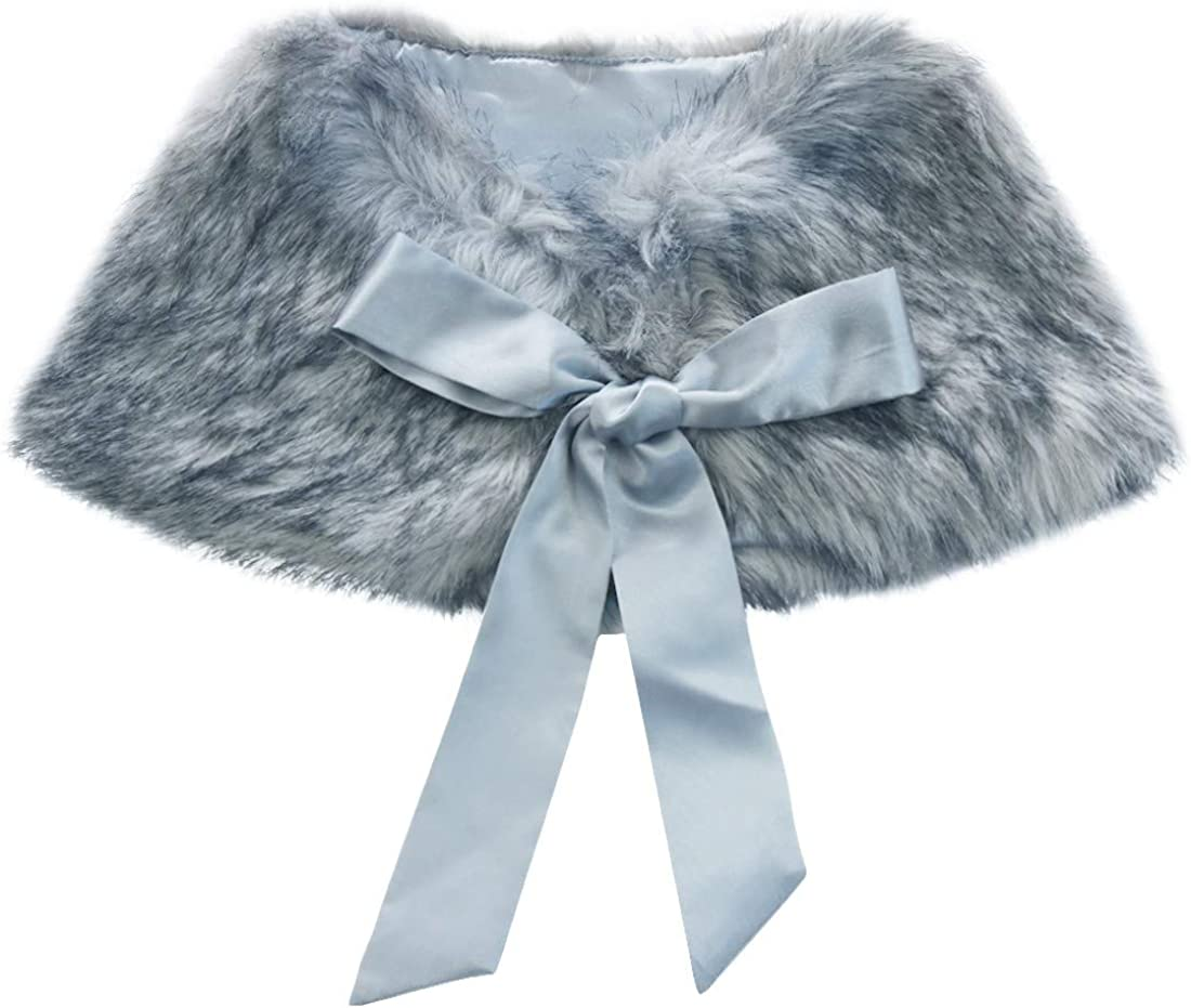 zdhoor New Orleans Mall Kids Flower Girls Faux Fur New Orleans Mall R Wraps Cape Shoulder Princess