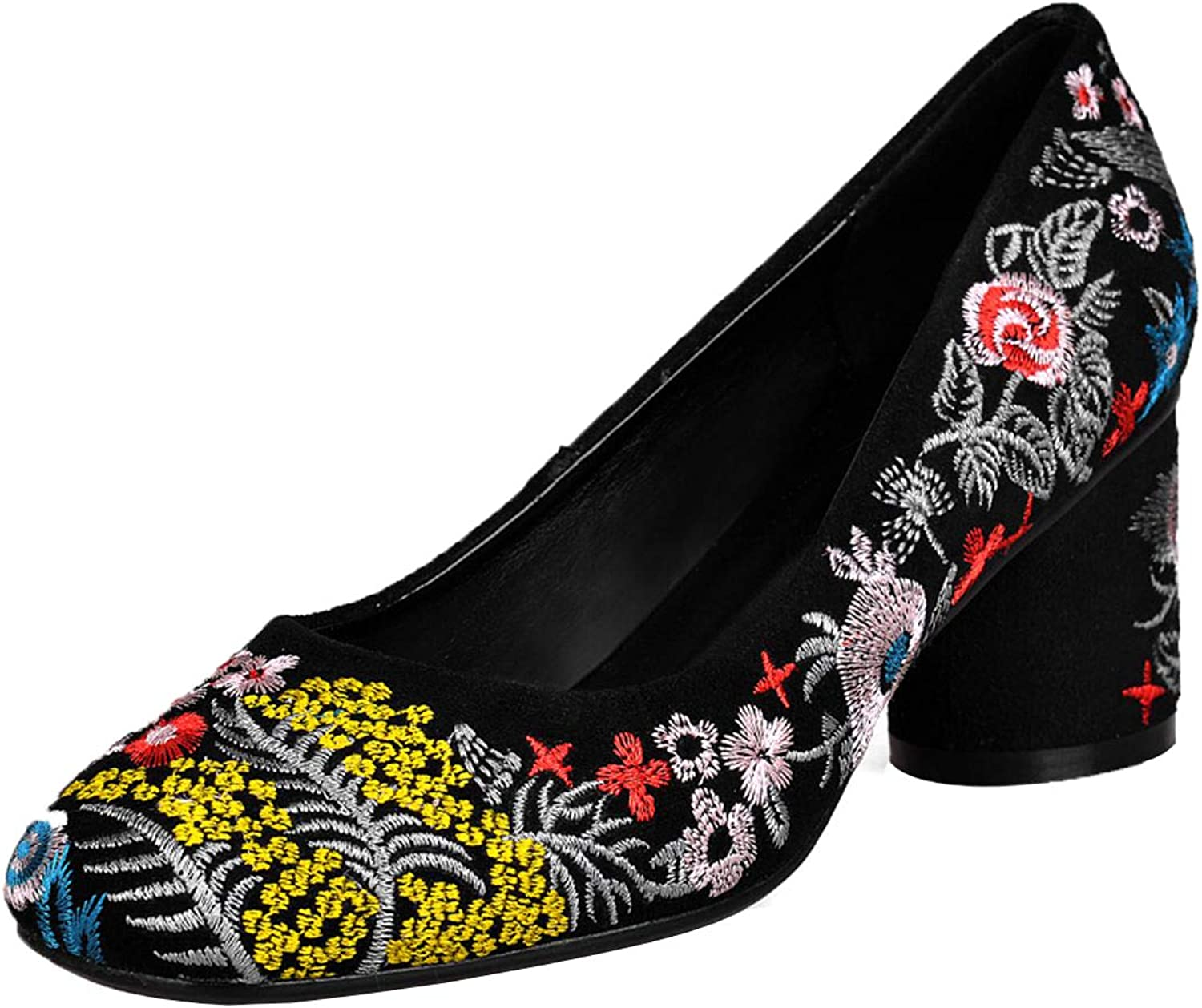Vitalo Womens Embroidered High Block Heel Pumps Closed Toe Classic Court shoes