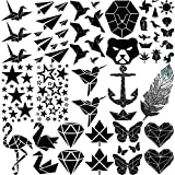 Yezunir 16 Sheets Geometric Cute Small Temporary Tattoos For Kids Arm Cranes Plane Anchor Maple Leaf Butterfly Heart Children Face Fake Tattoos Stickers Black Animals Star Line Art Waterproof Tatoos