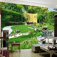 リバーガーデン自然景観3D写真壁紙リビングルームキッチンレストラン壁画紙-400x300cm