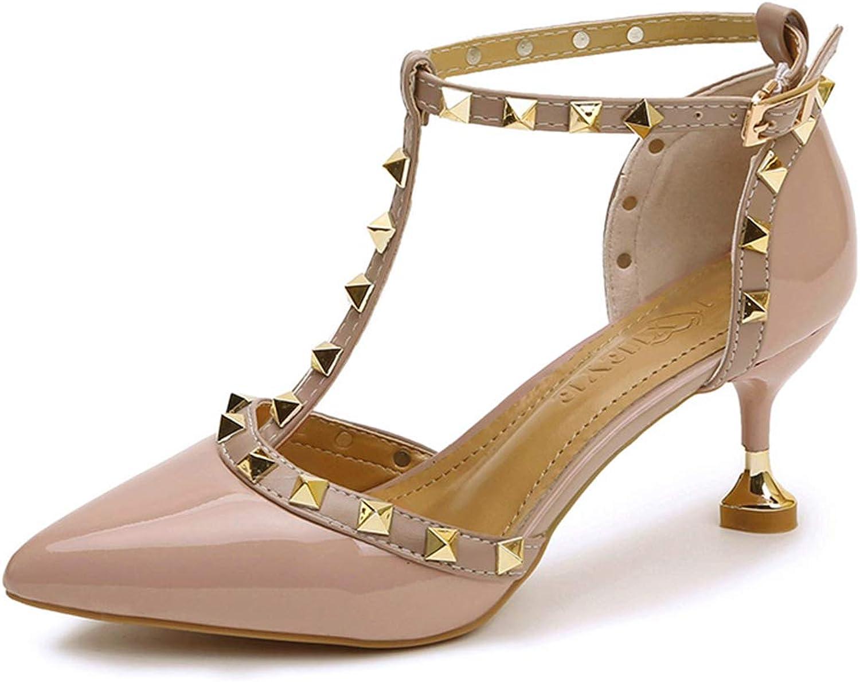 Owen Moll Women Pumps, Sexy Pointed Toe Buckle Rivets High Heel Dress Wedding shoes