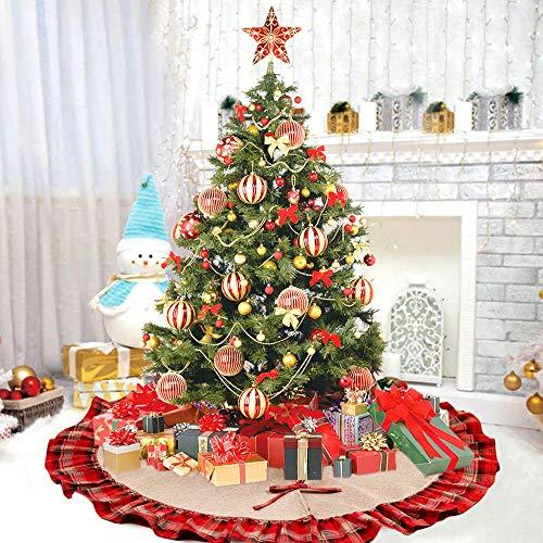 Deggodech Burlap Gonna Albero di Natale con Rosso e Nero Plaid Ruffle 122cm Gonne per...